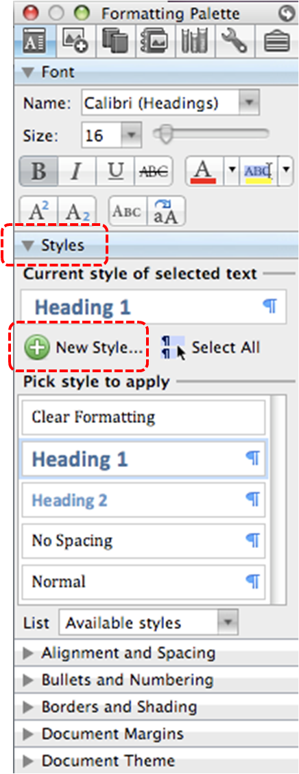 Image demonstrates location of Styles section and New Style... button in the Formatting Palette.