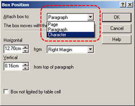 Image demonstrates location of Attach box to drop-down menu in the Box Position dialog.