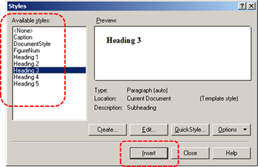 Image demonstrates location of available style options in the Styles dialog.