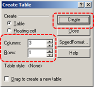 Image demonstrates location of Columns and Rows options and Create button in the Create Table dialog.