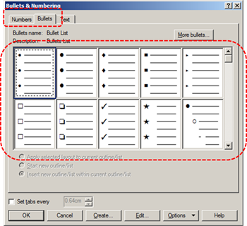 Image demonstrates location of Numbers and Bullets tabs and list gallery in the Bullets & Numbering dialog.