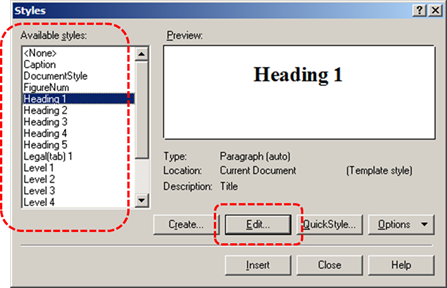 Image demonstrates location of available style options and Edit button in the Styles dialog.
