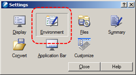 Image demonstrates location of Environment icon in the Settings dialog.