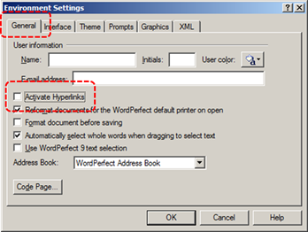 Image demonstrates location of General tab and Activate Hyperlinks check box in the Environment Settings dialog.