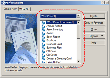 Image demonstrates location of template scrolling list in PerfectExpert dialog.