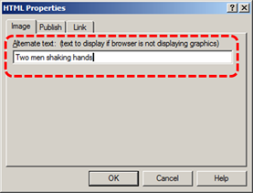 Image demonstrates location of Alternate Text box in the HTML Properties dialog.
