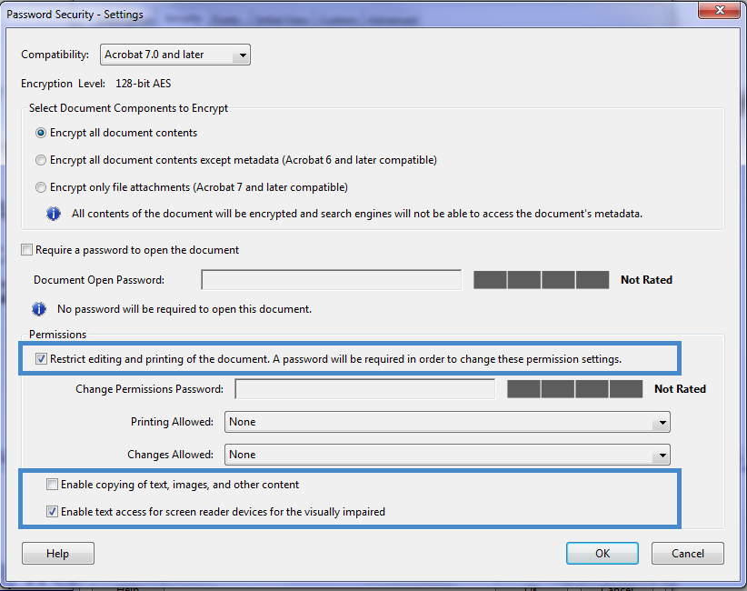 Image of changes that should occur in the password security dialog box