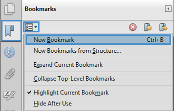 "Image locates ""new bookmarks"" in the bookmark panel."