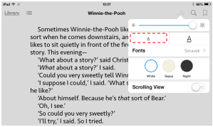 Reading in iBooks in portrait orientation with a small fontsize.
