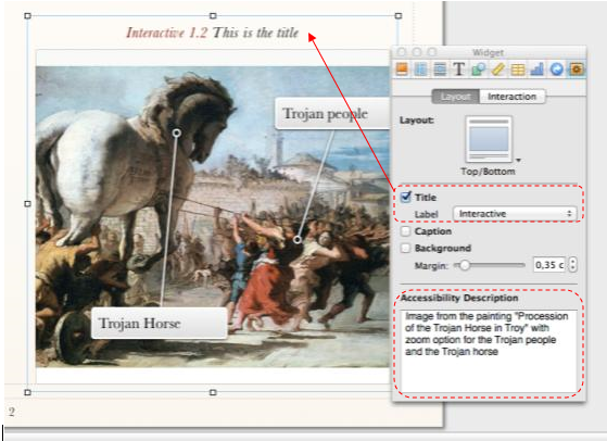 Screen Shot of an image in iBooks Author with the inspector tab for adding the accessibility description, the title and the label