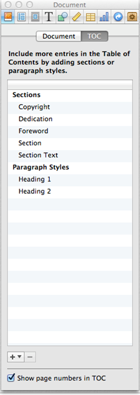 Screen Shot of the tab for creating the content of the table of contents