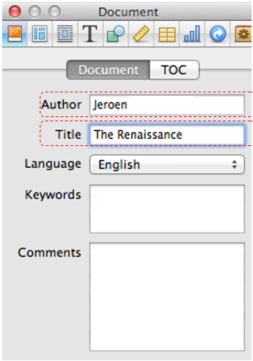 Screen Shot of the tab for adding title and author to an iBook