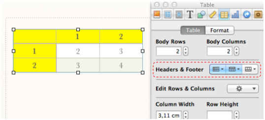 Screen Shot of a Table and the tab in Inspector for selecting headers and footers