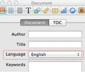 Screenshot of the Document tab with language set to English
