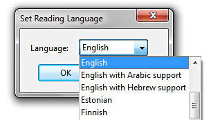 Image show a pop up  language box where the user can set the language of the document.