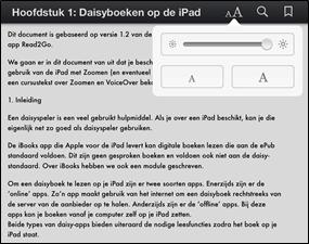 Het leesvenster in de verticale oriëntatie bij iBooks met een relatief kleine tekengrootte
