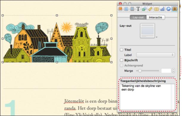 Een afbeelding in een iBooks Author met het infovenster waarin je de toegankelijkheidsbeschrijving ingeeft