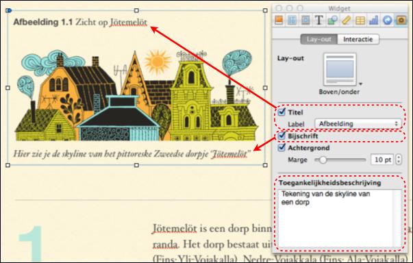 Een afbeelding in een iBooks Author met het infovenster waarin je de toegankelijkheidsbeschrijving, de titel en het bijschrift ingeeft