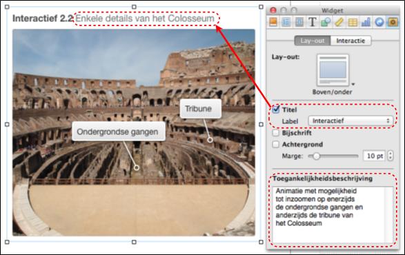 Een afbeelding in iBooks Author met het infovenster waarin je de toegankelijkheidsbeschrijving, de titel en bijg-behorend label ingeeft