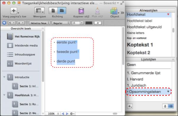 Deze illustratie toont hoe je correcte lijststijlen tepast bij het maken van een lijst
