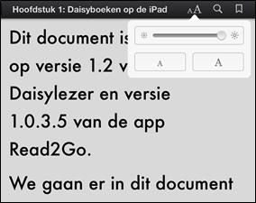Het leesvenster in de verticale oriëntatie bij iBooks met een relatief grote tekengrootte