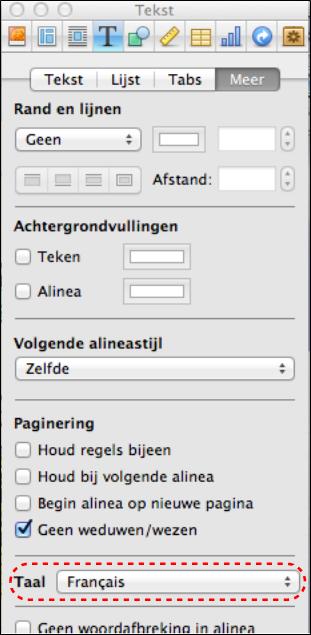Paneel waarin de taal van een tekstfragmet in het boek kan worden aangegeven