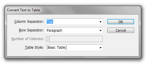 "Image show ""convert text to table"" dialog box."
