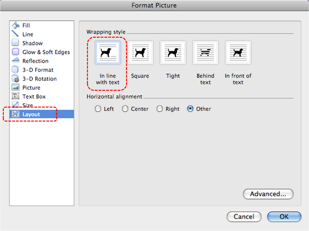 Image demonstrates location of Layout option and In line with text option in Format Picture dialog.